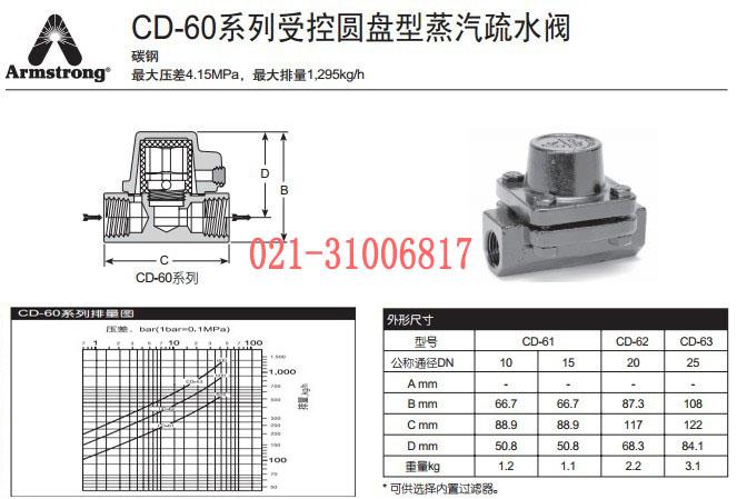 阿姆斯壮cd-60圆盘式疏水阀的规格结构图图片