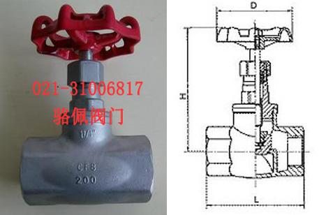 j11w-16p不锈钢丝口截止阀的规格尺寸图片